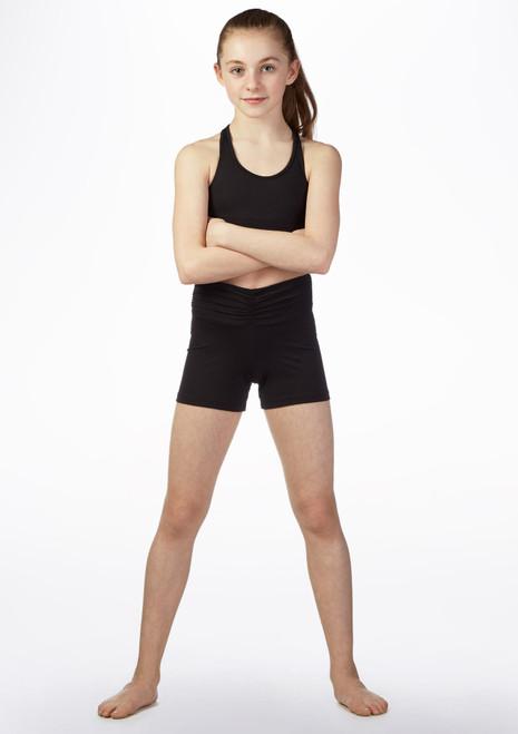 Pantalon Corto Gimansia Nina con Talle Alto So Danca Negro frontal. [Negro]