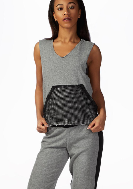 Top de danza con bolsillo de malla So Danca Gris frontal. [Gris]