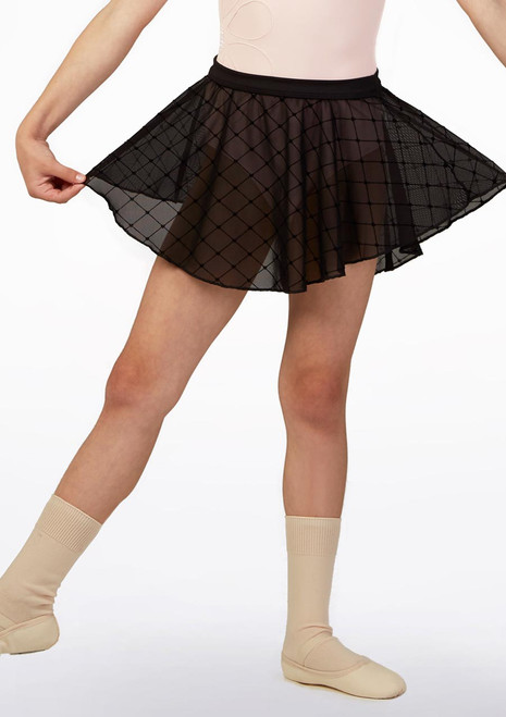 Falda con malla de rombos Bloch Nina Negro imagen principal. [Negro]