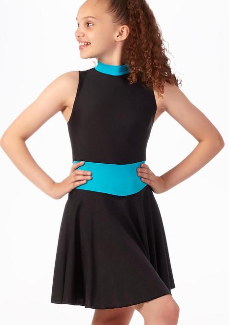 Maillot Ballet Nina con Faldita Alegra Fuse Negro-Rosa frontal. [Azul]