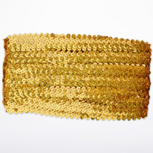 Lentejuelas elasticas 19mm x 10m Oro frontal. [Oro]