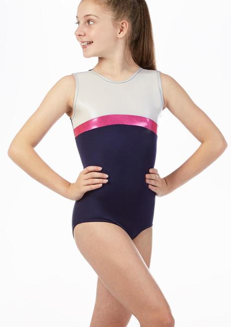 Maillot de gimnasia Crissie sin mangas Alegra Azul frontal. [Azul]