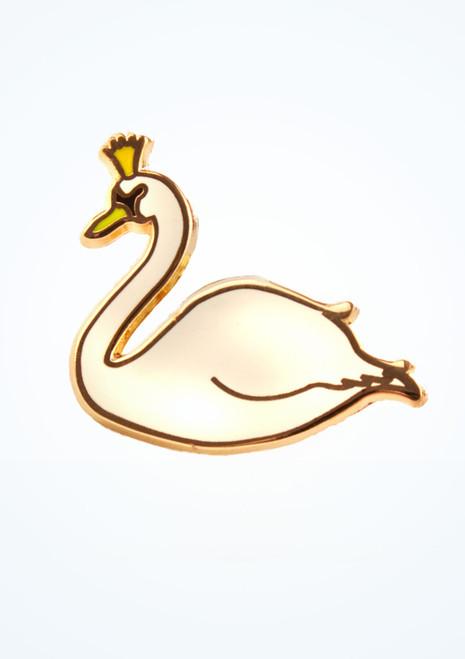Broche de reina cisne esmaltado para bolsa de ballet Blanco frontal. [Blanco]