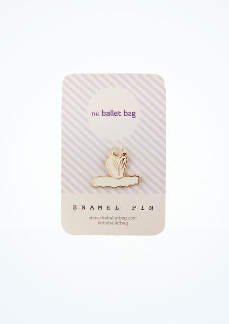 Broche de cisne con tutu esmaltado para bolsa de ballet Blanco frontal. [Blanco]