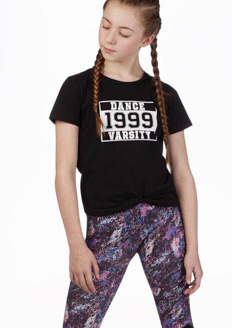 Camiseta universitaria corta Move Dance Negro frontal. [Negro]