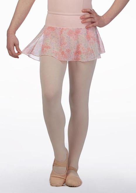 Falda Pull On con Malla Floral Bloch Rosa frontal. [Rosa]