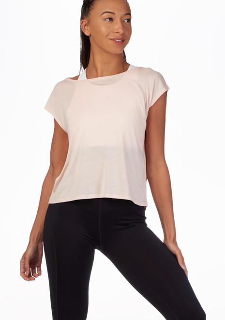 Camiseta de baile con espalda de malla Move Rosa frontal. [Rosa]