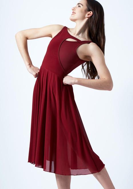 Vestido de baile lirico con aperturas Thalassa Move Dance Marrón Claro frontal. [Marrón Claro]