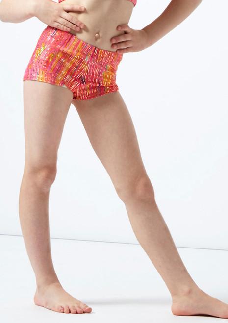 Pantalones cortos de gimnasia Puesta de Sol para nina de  Alegra Naranja frontal. [Naranja]