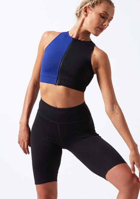 Top corto con cremallera delantera Move Dance Envision Negro-Azul frontal. [Negro-Azul]