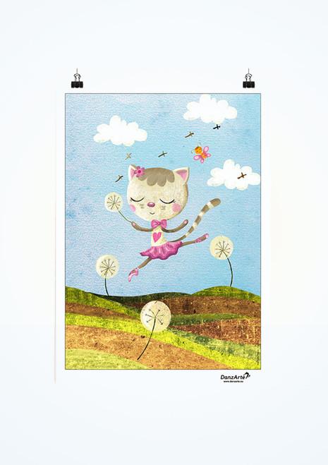 Poster Dancing Cat On Meadow Danzarte.