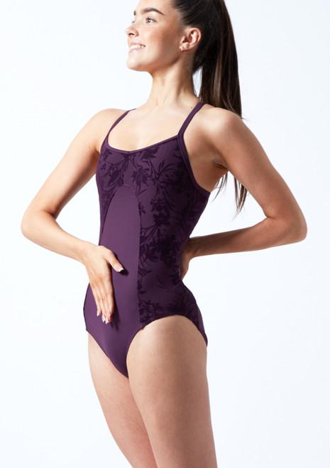 Maillot espalda abierta y malla Floriade para joven Bloch Púrpura Oscuro Delante-1T [Púrpura Oscuro]