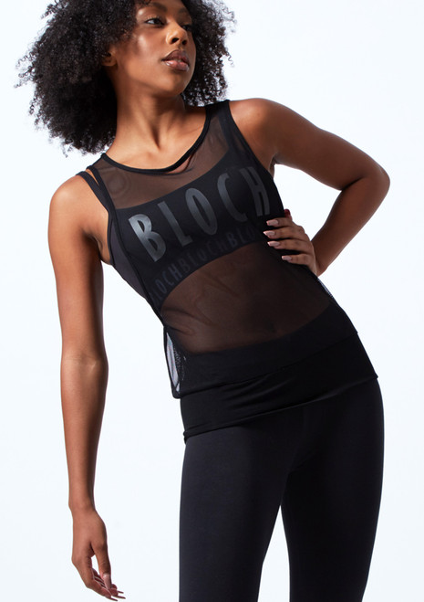 Top de danza de malla Bloch Negro  Delante-1T [Negro ]