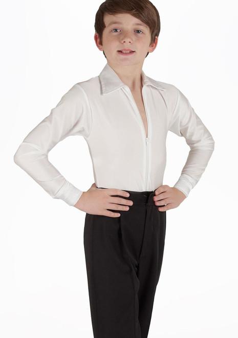 Camisa de Baile Deportiva Nino Pablo Move Dance Blanco. [Blanco]
