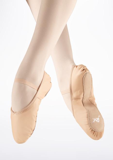 Move zapatillas de ballet de piel rosa. [Rosa]