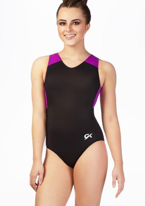 Maillot con espalda de nadador Magenta Rush GK Elite Negro-Rosa frontal. [Negro-Rosa]