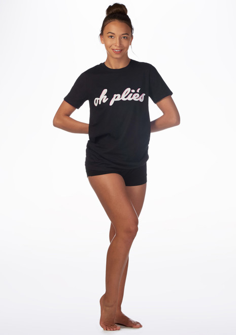 Camiseta de danza Plie Kelham Negro frontal. [Negro]
