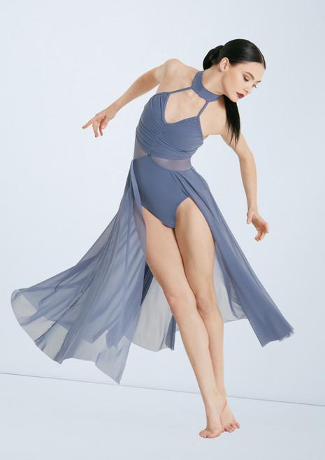 Weissman Rtuched Dress With Mesh Skirt Azul frontal. [Azul]