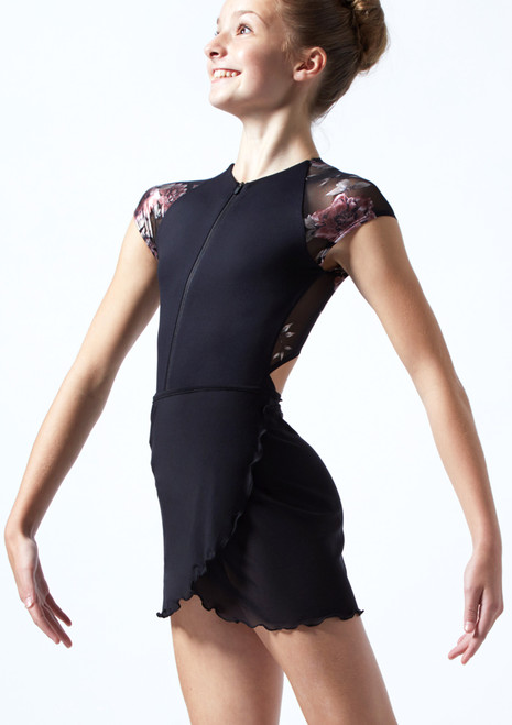 Falda de danza cruzada de malla transparente para adolescente Odile Move Dance Negro  Delante-1T [Negro ]