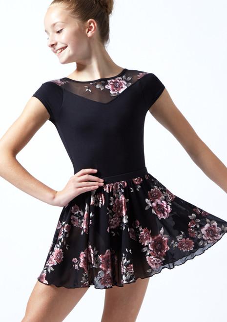 Falda de danza sin cordones de malla floral Louise para adolescente Move Dance Negro  Delante-1T [Negro ]