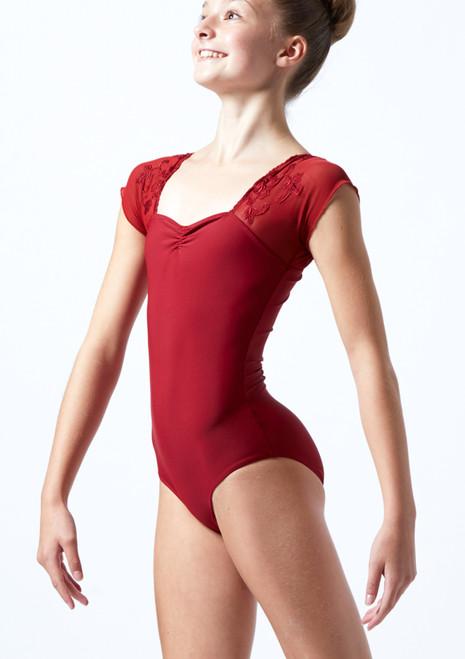 Maillot con bordado floral y mangas cortas de malla Ballet Rosa Rojo  Delante-1T [Rojo ]