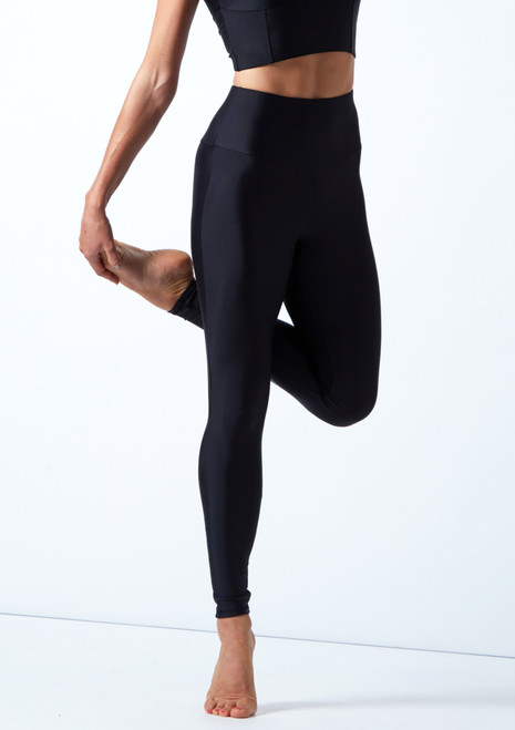 Mallas de danza de cintura alta Alexandra Move Dance Negro  Delante-1T [Negro ]
