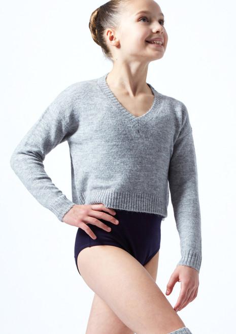 Felpa per ragazze con scollo a V lavorata a maglia Louisa Move Dance Gris  Delante-1T [Gris ]