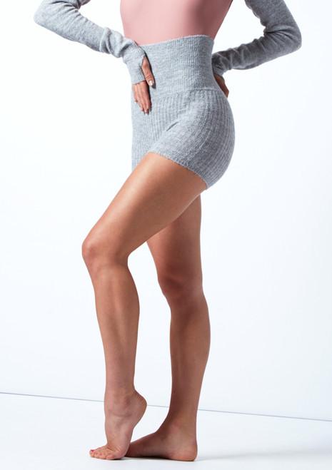 Pantalones cortos de danza de punto con cinturón enrollable Delilah Move Dance Gris  Delante-2T [Gris ]