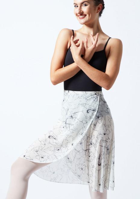 Falda de danza cruzada floral Move Dance - Marfil Cream Delante-1T [Cream]