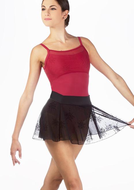 Falda de gasa Floral Mirella* Negro. [Negro]
