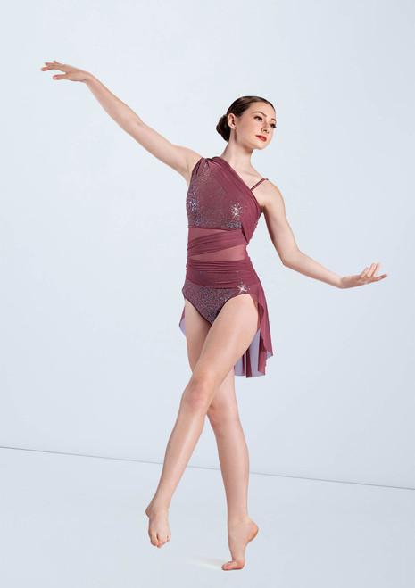 Weissman Draped Mesh Sequin Dress