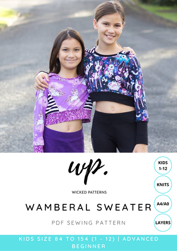 Wamberal Sweater KIDS Size 1 - 12 Knit PDF Sewing Pattern by Wicked Patterns - A4, A0, Projector Files