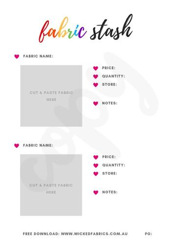 """Detailed Fabric Stash Tub Organiser"" RAINBOW - FREE Digital Download E-Paper by Wicked Fabrics"