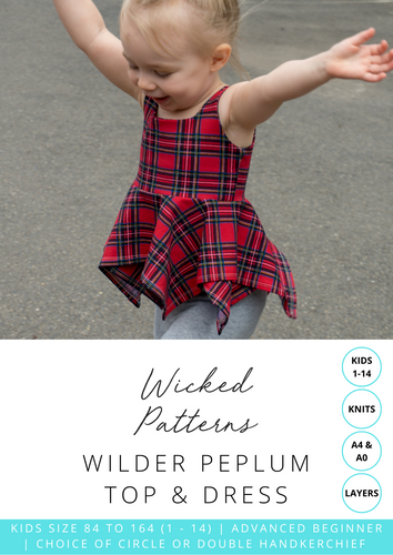 """Wilder"" Peplum Top and Dress Size 1 - 14 KIDS Knit PDF Sewing Pattern by Wicked Patterns"