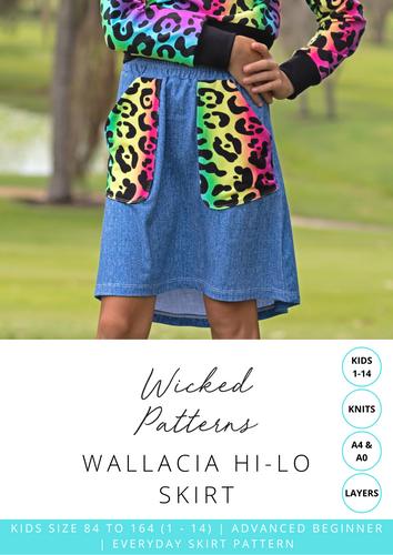 """Wallacia"" Hi Lo Skirt Size 1 - 14 KIDS Knit PDF Sewing Pattern by Wicked Patterns"
