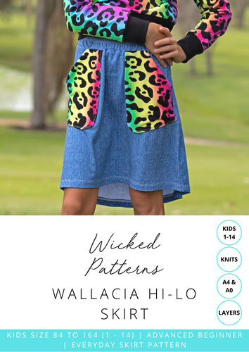 Wallacia Hi Lo Skirt KIDS Size 1 - 14 Knit PDF Sewing Pattern by Wicked Patterns - A4, A0 Files