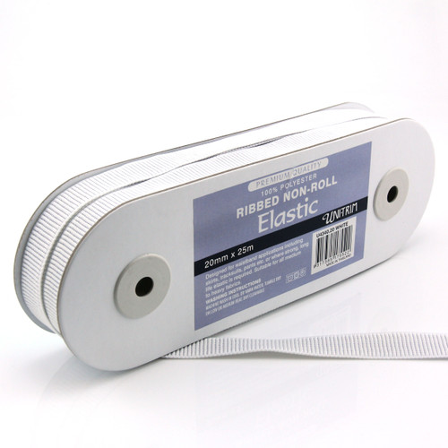 """UNI-TRIM Ribbed NON ROLL Elastic 20MM in """"White"""" - 5M PACK"""