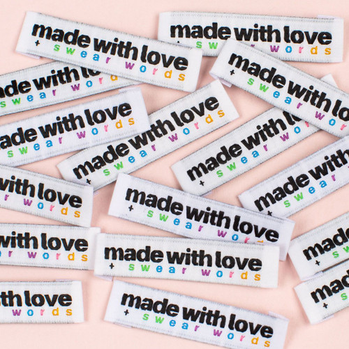 "Kylie And The Machine Woven Label ""Made with Love + Swear Words"" - 1 Pack"