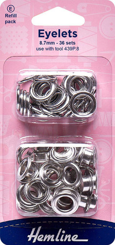 Hemline Eyelets 8.7MM in Nickle Refill Pack (36 sets)