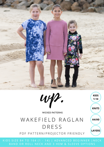 Wakefield Raglan Dress KIDS Size 1 - 14 Knit PDF Sewing Pattern by Wicked Patterns - A4, A0, Projector Files
