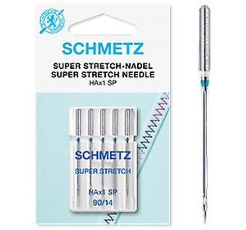 Schmetz Sewing Machine Needle | Super Stretch Overlocker HA x 1 SP | 90/14 5 Pack