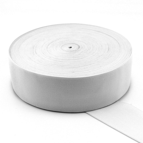 """UNI-TRIM Double Knitted Elastic 50MM in """"White""""   5M Pack"""