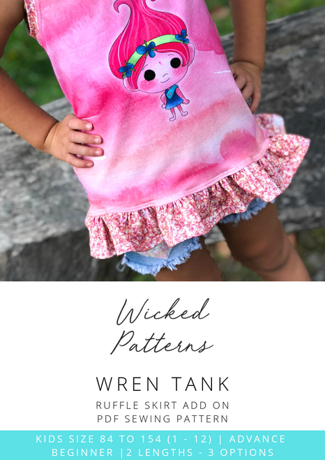 """Wren Tank Ruffle Skirt ADD ON"" Kids Knit PDF Sewing Pattern by Wicked Patterns"