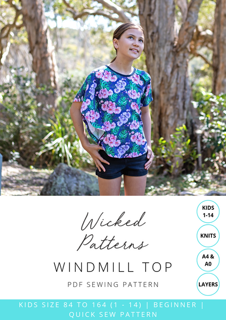 """Windmill Top"" Size 1 - 14 KIDS Knit PDF Sewing Pattern by Wicked Patterns"