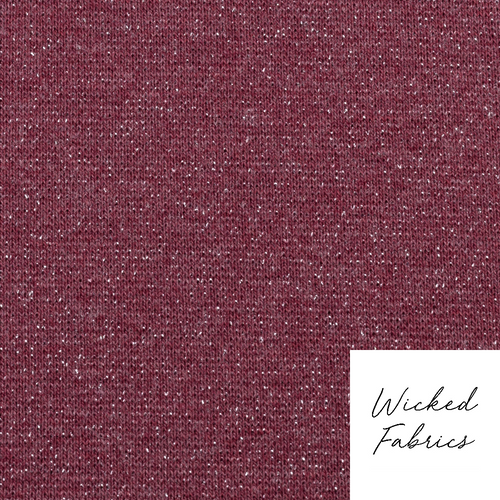 """Glitter"" in Maroon  OEKO-TEX 100 Cotton Elastane Ribbing - 10CM"
