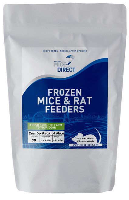 (Combo Pack of 50 Mice)  25 Small Adults & 25 Large Adults Are you tired of Running to Pet Store for reptile Food and  What you need is out of stock or what you buy is sized wrong?  Do they look bad, freezer burned or not fresh? We Have Exactly What You Need Delivered; Farm Fresh To Your Door!!! CUSTOMER SATISFACTION NO HASSLE 100% GUARANTEE !!! FROZEN ARRIVAL Guarantee!! SAME DAY PROCESSING MONDAY-FRIDAY before 1 EST.   DELIVERIES 7 Days a Week By FedEx! FREE SHIPPING with orders over $69! Under $69 is a $29 S&H. Rodents are fed Mazuri which is top zoo grade lab feed for the mice,  which in turn results in very healthy food for your pet. We do not take any shortcuts with the mice to improve our profit margins,  So you can rest easy that your pet is consuming the best and healthiest rodents. So whether you are feeding a corn, king, milk, boa or ball python, bearded dragon,  monitor, or any other reptile, amphibian, lizard or bird of prey,   you can rest easy that your pet is consuming the best and healthiest frozen Mice & Rats. The healthiest and safest frozen feeders for your pet!