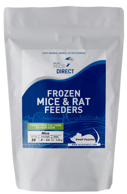 These are B-Grade quality.  These mice do not meet our visual standards, but they have the same nutritional value at A-Grade.  They may be slightly bloody or have more than a normal amount of moisture or feces or urine visible in the bag.  Availability is limited. They are a great way to save money on your feeders.    25 Small Fuzzie Mice Are you tired of Running to Pet Store for reptile Food and  What you need is out of stock or what you buy is sized wrong?  Do they look bad, freezer burned or not fresh? We Have Exactly What You Need Delivered; Farm Fresh To Your Door!!! CUSTOMER SATISFACTION NO HASSLE 100% GUARANTEE !!! FROZEN ARRIVAL Guarantee!! SAME DAY PROCESSING MONDAY-FRIDAY before 1 EST.   DELIVERIES 7 Days a Week By FedEx! FREE SHIPPING with orders over $69! Under $69 is a $29 S&H. Rodents are fed Mazuri which is top zoo grade lab feed for the mice,  which in turn results in very healthy food for your pet. We do not take any shortcuts with the mice to improve our profit margins,  So you can rest easy that your pet is consuming the best and healthiest rodents. So whether you are feeding a corn, king, milk, boa or ball python, bearded dragon,  monitor, or any other reptile, amphibian, lizard or bird of prey,  you can rest easy that your pet is consuming the best and healthiest frozen Mice & Rats. The healthiest and safest frozen feeders for your pet!