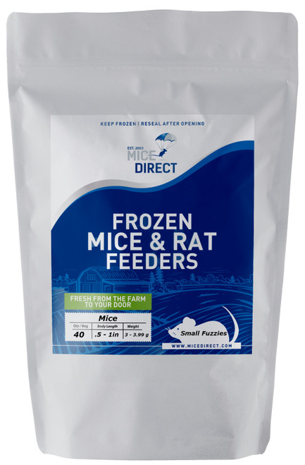 These are B-Grade quality.  These mice do not meet our visual standards, but they have the same nutritional value at A-Grade.  They may be slightly bloody or have more than a normal amount of moisture or feces or urine visible in the bag.  Availability is limited. They are a great way to save money on your feeders.    40 Small Fuzzie Mice Are you tired of Running to Pet Store for reptile Food and  What you need is out of stock or what you buy is sized wrong?  Do they look bad, freezer burned or not fresh? We Have Exactly What You Need Delivered; Farm Fresh To Your Door!!! CUSTOMER SATISFACTION NO HASSLE 100% GUARANTEE !!! FROZEN ARRIVAL Guarantee!! SAME DAY PROCESSING MONDAY-FRIDAY before 1 EST.   DELIVERIES 7 Days a Week By FedEx! FREE SHIPPING with orders over $69! Under $69 is a $29 S&H. Rodents are fed Mazuri which is top zoo grade lab feed for the mice,  which in turn results in very healthy food for your pet. We do not take any shortcuts with the mice to improve our profit margins,  So you can rest easy that your pet is consuming the best and healthiest rodents. So whether you are feeding a corn, king, milk, boa or ball python, bearded dragon,  monitor, or any other reptile, amphibian, lizard or bird of prey,  you can rest easy that your pet is consuming the best and healthiest frozen Mice & Rats. The healthiest and safest frozen feeders for your pet!