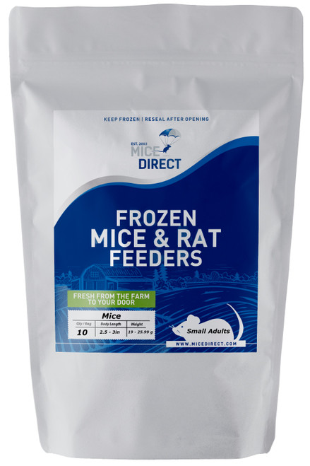 These are B-Grade quality.  These mice do not meet our visual standards, but they have the same nutritional value at A-Grade.  They may be slightly bloody or have more than a normal amount of moisture or feces or urine visible in the bag.  Availability is limited. They are a great way to save money on your feeders.    10 Small Adult Mice Are you tired of Running to Pet Store for reptile Food and  What you need is out of stock or what you buy is sized wrong?  Do they look bad, freezer burned or not fresh? We Have Exactly What You Need Delivered; Farm Fresh To Your Door!!! CUSTOMER SATISFACTION NO HASSLE 100% GUARANTEE !!! FROZEN ARRIVAL Guarantee!! SAME DAY PROCESSING MONDAY-FRIDAY before 1 EST.   DELIVERIES 7 Days a Week By FedEx! FREE SHIPPING with orders over $69! Under $69 is a $29 S&H. Rodents are fed Mazuri which is top zoo grade lab feed for the mice,  which in turn results in very healthy food for your pet. We do not take any shortcuts with the mice to improve our profit margins,  So you can rest easy that your pet is consuming the best and healthiest rodents. So whether you are feeding a corn, king, milk, boa or ball python, bearded dragon,  monitor, or any other reptile, amphibian, lizard or bird of prey,  you can rest easy that your pet is consuming the best and healthiest frozen Mice & Rats. The healthiest and safest frozen feeders for your pet!