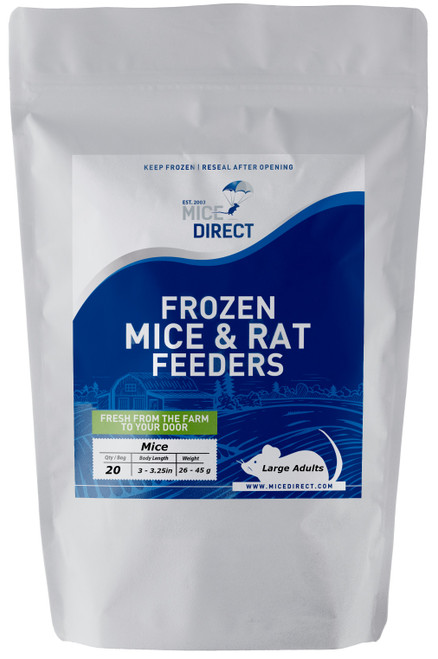 These are B-Grade quality.  These mice do not meet our visual standards, but they have the same nutritional value at A-Grade.  They may be slightly bloody or have more than a normal amount of moisture or feces or urine visible in the bag.  Availability is limited. They are a great way to save money on your feeders.    20 Large Adult Mice Are you tired of Running to Pet Store for reptile Food and  What you need is out of stock or what you buy is sized wrong?  Do they look bad, freezer burned or not fresh? We Have Exactly What You Need Delivered; Farm Fresh To Your Door!!! CUSTOMER SATISFACTION NO HASSLE 100% GUARANTEE !!! FROZEN ARRIVAL Guarantee!! SAME DAY PROCESSING MONDAY-FRIDAY before 1 EST.   DELIVERIES 7 Days a Week By FedEx! FREE SHIPPING with orders over $49! Under $49 is a $24 S&H. Rodents are fed Mazuri which is top zoo grade lab feed for the mice,  which in turn results in very healthy food for your pet. We do not take any shortcuts with the mice to improve our profit margins,  So you can rest easy that your pet is consuming the best and healthiest rodents. So whether you are feeding a corn, king, milk, boa or ball python, bearded dragon,  monitor, or any other reptile, amphibian, lizard or bird of prey,  you can rest easy that your pet is consuming the best and healthiest frozen Mice & Rats. The healthiest and safest frozen feeders for your pet!